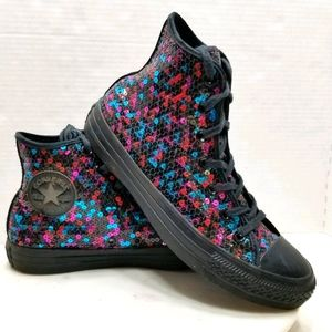 Converse Size 8 All Star Hi Black Sequin Sneakers